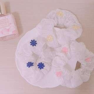 🚚 🎉(現貨)日系 蕾絲 刺繡 超仙 繡花 髮飾 髮圈 大腸圈