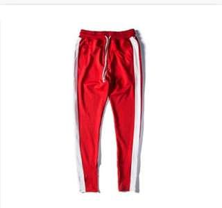🚚 9分 紅底白條單線 運動褲