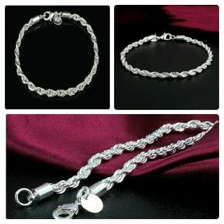 Silver Twisted Rope Chain Bracelet