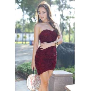 VainGloriousYou Lace Dress in Wine Red