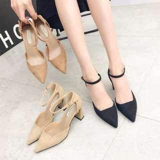 🚚 預購®️2018新品韓系絨面粗跟高跟鞋 扣環尖頭鞋 一字扣跟鞋單鞋女鞋