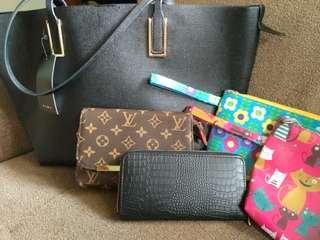 zara bag, dompet croco hitam, pouch lv, pouch kucing dan bunga