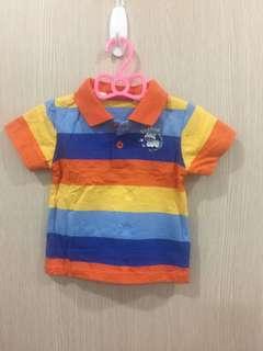 🚚 橘條紋polo衫