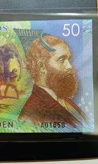 2016年 荷蘭錫蘭 50盧比 塑膠鈔 全新直版