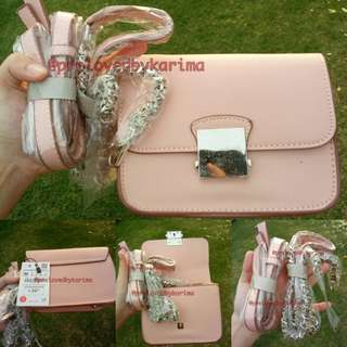 ZARA Cross Body Pink Bag with Contrasting Strap #horegajian