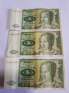 Deutsche mark notes $5 notes x 3