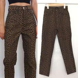 真品 Auth Fendi vintage leopard pants 高腰豹紋長褲