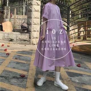 ioz 極簡主義 韓國oversize紫白娃娃洋裝裙