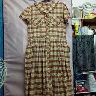 古著  特殊款夢幻系荷葉水手卡其格紋洋裝