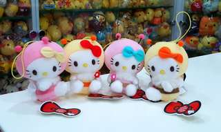 BN Very Rare FOUR Japan Sanrio Honey Bee Hello Kitty Plush Accessory Charm Doll with Strap