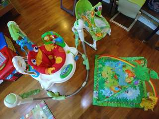 Great 3-in-1 deal, Fisherprice jungle theme Jumperoo, Rocker and Tummy time mat