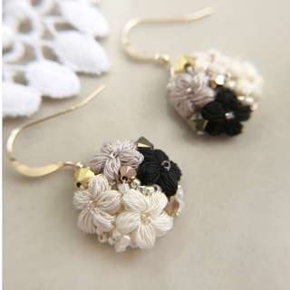 dangle flower earrings with Swarovski beads - bridesmaid gift earrings - Mother's Day gift earrings jewelry - floral theme jewelry