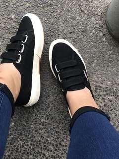 Superga Velcro Black ( Cot3Strapu )