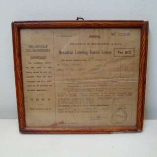 Broadcast Listening Station Licence 1957