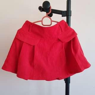 #20under Red Wool Skater Skirt