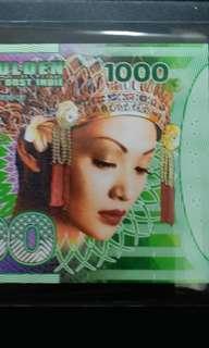2016年 荷蘭東印度 1000盧比 塑膠商業紀念鈔 全新直版