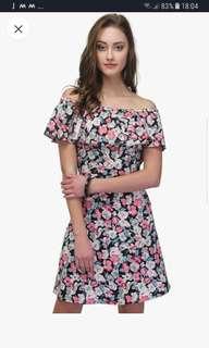 Multicoloured printed off shoulder dress