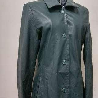 🚚 羊皮湖水綠皮衣外套皮風衣