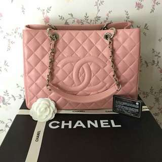 CHANEL CAVIAR PINK GST SILVER HARDWARE COMPLETE