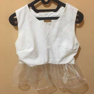 Crop Top White Tile Ribbon Back