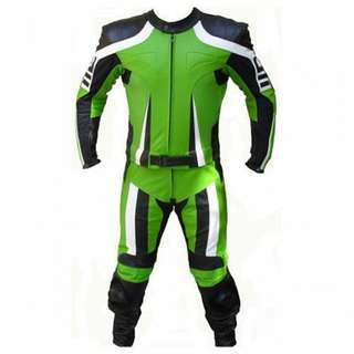 Green motorbike Leather Racing Suit
