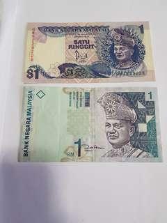 Malaysia $1 notes 2 pcs