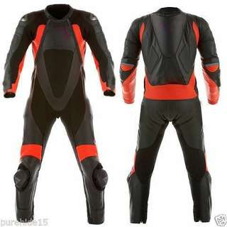 Black and motorbike Leather Racing Suit