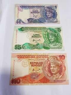 Malaysia ringgit $1, $5 , $10 notes set