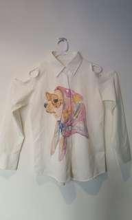 Open shoulder white blouse