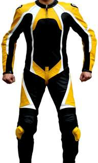 Two colour two piece motorbike Leather Racing Suit