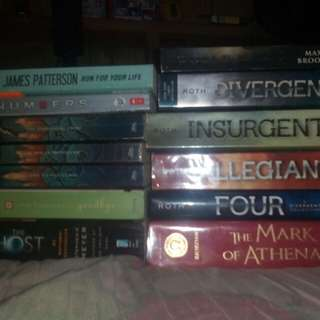 Percy jackson,divergent, numbers,etc