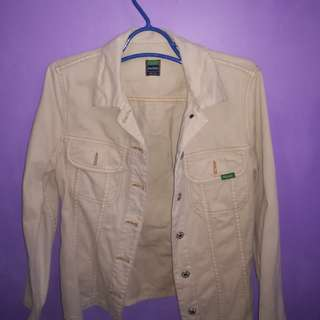 Vintage benetton blue family beige jean jacket