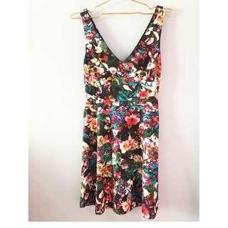 Bershka Floral Waist Cut Out Dress