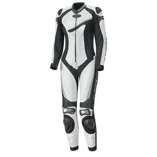 Black and White women's motorbike Leather Racing Suit