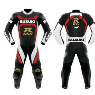 Three colour suzuki motorbike Leather Racing Suit