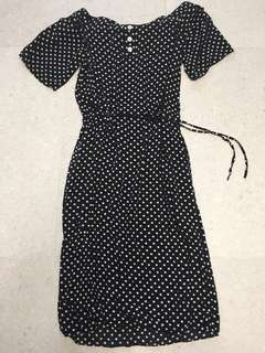 Polka dot drawstring waist dress