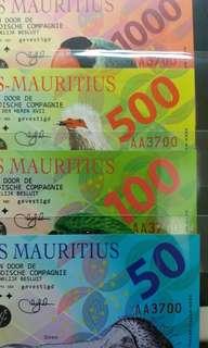 2016年 荷蘭毛里求斯 50至1000盾 塑膠商業紀念鈔 共4張 全新直版
