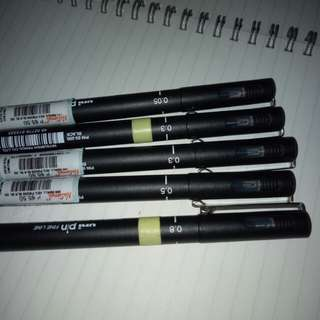 5 UNIPIN pens and FREE MINISO PENCIL CASE