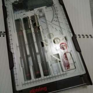 ROTRING Techpens with refill ink and eraser REPRICED!!