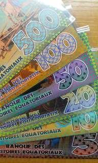 2014-2015年 赤道幾內亞 5元至500元 塑膠商業紀念鈔 共6張 全套直版