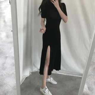 Slit Maxi Dress Stretchy Ulzzang