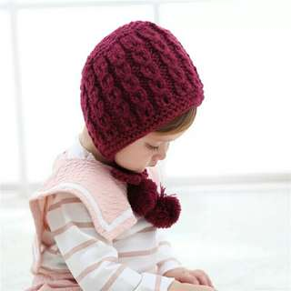 1Pcs Children Hat Crochet Bonnet Autumn Winter Handmade Wool Ear Knitting Hats Kids Baby Fashion Warmer Caps Child Hats