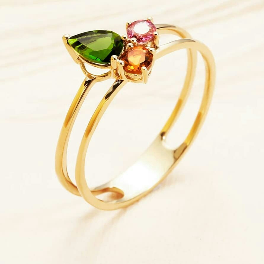 18k Gold Ring Rose Color Green Tourmaline Gem Birthday Gift To Girlfriend Luxury Accessories On Carousell