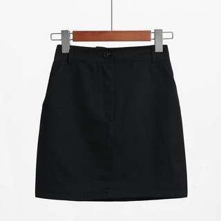 basic black A-line highwaist skirt
