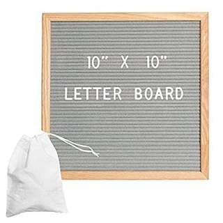 Felt Letter Board - Grey - 10x10 Oak Frame with 300 Changeable Letters, Numbers and Punctuation and Wall Mounting Bracket and Canvas Storage Bag