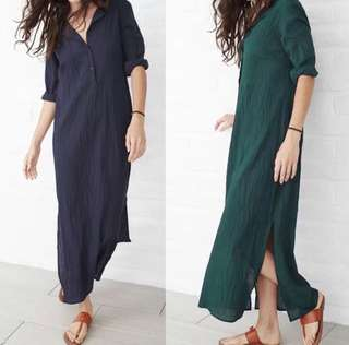 (S~5XL) Summer casual loose dress V-neck long sleeve split hem cotton and linen dress