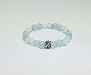 Brazilian Aquamarine & Opalite Bracelet
