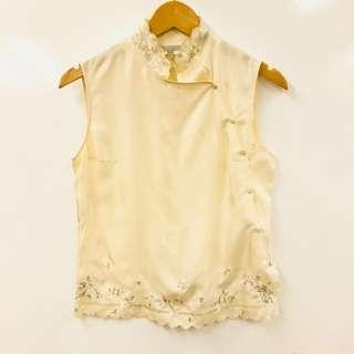 Shiatzy Chen cream white silk with emborderies vest size F38