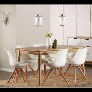Eames replica Dining Chair 4pcs white wood cushion fantastic retro