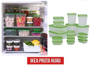 IKEA Pruta Tempat Kontainer Makanan Isi 17 Pcs, Hijau